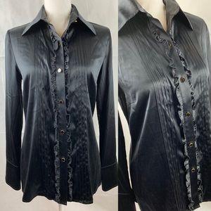 Trina Turk Black Tuxedo Long Sleeve Silk Blouse